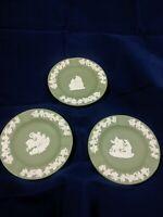 """Set of 3 4.5"""" Sage Green Wedgwood Jasperware Antique Ashtrays / Dishes!"""