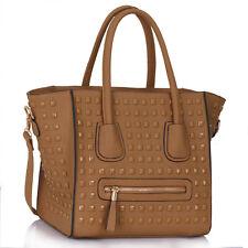 Large Front Pockets Tote / Studded Handbag Smile Bag Tote Satchel College A4