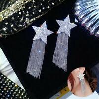 Fashion Star Drop Statement Long Tassel Crystal Jewellery Earrings Stud Women