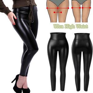 Women Faux Leather PU High Waist Leggings Yoga Pencil Trousers Plus Size Pants