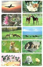 Lot of 24 Japan Phone Cards Prepaid Cards Telecards Cats Dogs Animals Plane #9K