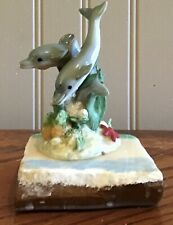 Coastal Art Dolphins On Rock Paperweight