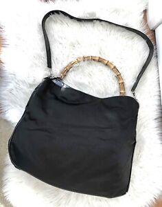 ** Vintage GUCCI bamboo Nylon shoulder Bag **
