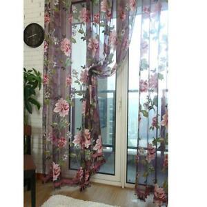 Floral Tulle Voile Door Window Curtain Drape Panel Sheer Scarf Valances FA