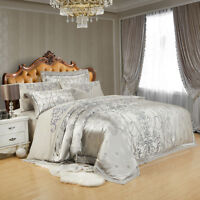 6pc Luxury Satin Jacquard Queen King Duvet Cover bedding set Pillowcase