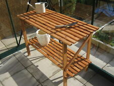 "4' x 21"" Wooden Folding Greenhouse Staging - Potting Bench"