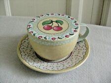 Mary Engelbreit Ink 2000 Tin Cup w/Lid & Saucer Cherries Design
