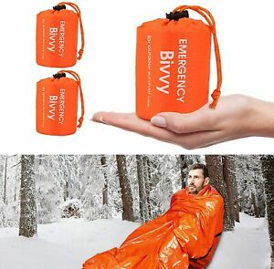 2PCS Emergency Sleeping Bag,Thermal Bivy Sack, Survival Shelter Blanket Bags NEW