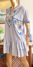 MANOUSH DRESS TUNIC,BOHO CHIC DRESS,DESIGNER EMBROIDERED MINI DRESS,LINEN MIX,XS