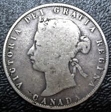 OLD CANADIAN COIN 1872 H Inv A/V - 50 CENTS HALF DOLLAR - .925 SILVER - Victoria