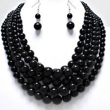 Black Pearl 5 Row Multi Strand Layered Onyx Bead Chunky Jewelry Necklace Set