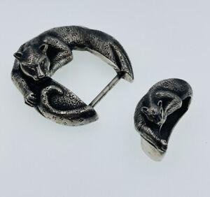 Jeff Deegan Vintage Sterling Silver Figural Panther Tiger 2 Piece Belt Buckle