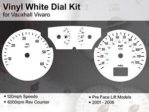 Vauxhall Vivaro (2001 - 2006) Pre Lift - 120mph / 6000rpm - Vinyl White Dial Kit