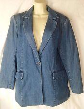 Womens M 10 12 Denim & Co Blue Denim Cotton Blazer Jacket Lined 1-Button NWT