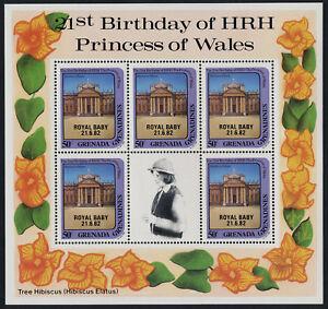 Grenada Grenadines 492 sheet MNH Princess Diana 21st Birthday, Royal Baby o/p