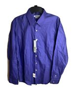 New DKNY Men's Slim Fit LS Dress Shirt Concord Purple/White Stripe L 16.5 34/35