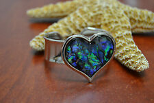 HEART ABALONE SHELL SILVER PLATED CUFF BRACELET JEWELRY FASHION ACCESSORY #B-8