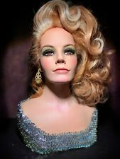 Smiling Female Mannequin Wig Bust Vintage 60s Woman Hat Jewelry Scarf Head