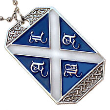 SCOTLAND FLAG PENDANT NECKLACE SCOTTISH HERITAGE CROSS ALBA DOG-TAG BALL CHAIN