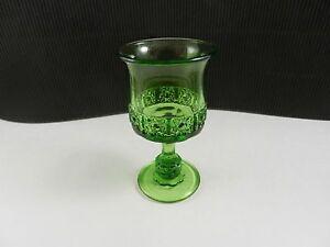 """LG Wright Daisy & Cube Wine Goblet Green 4 5/8"""" T ca 1940'-1960's"""