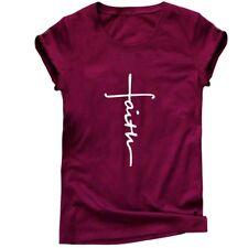 Faith Christian T-shirt Women Jesus Belief Christian Tees Mens Cross Tops Blouse