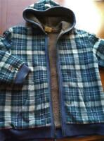 Crazy 8 Boys Winter Jacket 10-12 L Youth Blue Plaid Fleece Lined Heavy Thick EUC