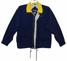 Sz M JOHN HENRY OUTERWEAR Jacket Navy/Yellow 100% Cotton Lined Front
