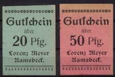 [12658] - 2 x NOTGELD RAMSBECK, Lorenz Meyer, 20 + 50 Pf, o.D. (um 1918). Tieste