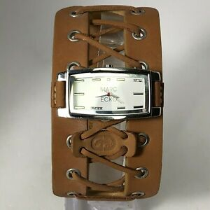 Marc Ecko Womens 829-1972 Brown Wide Leather Band Steampunk Analog Wristwatch