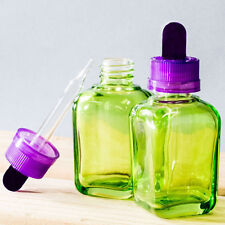 30ml Clear Glass Green Dropper Bottle with a Purple and Black Top (Pack of 10)