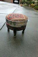 Afghan handmade rare killim Footstool  Antique style  Footrest or chair 35x40 cm
