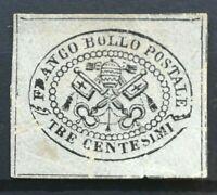 PONTIFICIO 1867: 3 cent. grigio rosa 2° EMISSIONE MH, s.g., Sassone 14