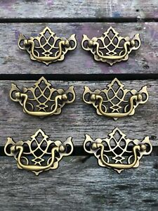 """6 Vintage Bail Drawer Pulls Lot Brass Color 3"""" C-C Chippendale Style Wing Batman"""