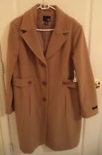 EAST 5TH WOMEN'S PLUS CAMEL WOOL CASHMERE LINED TRENCH COAT 1X NEW TAGS TO KNEE