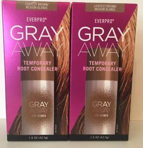 2x Everpro Gray Away Women Temporary Root Concealer,Lightest Brown/Medium Blonde