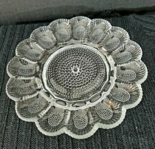 "Vintage Indiana Glass 11"" Crystal Deviled Egg Relish Plate Serving Tray, EUC"