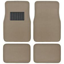 Auto Floor Mats for Car - Classic Carpet w/ Heelpad Beige Tan Set Front & Rear