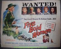 FIVE BOLD WOMEN MOVIE POSTER Folded 22x28 Half Sheet 1959 Western Merrie Anders