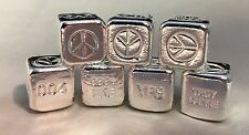 "1oz Hand Poured 999 Silver Bullion Bar ""Peace Cube"" by YPS"