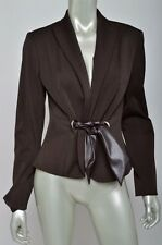 Cache Dark Brown Faux Leather Silky Lined Fitted Career Blazer Coat Jacket Sz 6