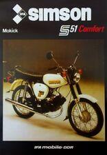 REKLAME Simson Prospekt Comfort S 51 DDR STIL 1986  Mokick Simme VEB SUHL 50 ccm