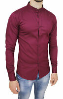 CAMICIA UOMO CASUAL SLIM FIT BORDEAUX COTONE STRETCH CON COLLETTO ALLA COREANA