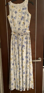 Vintage Laura Ashley White Blue Floral Print  Cotton Occasion Maxi Dress Size 8