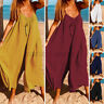 UK Womens Strappy Wide Leg Jumpsuits Playsuits Loose Casual Palazzo Pants Plus