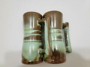 Vintage Frankoma Pottery Prairie Green & Brown Salt and Pepper Shakers w/Handles