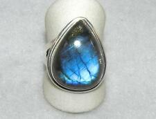 Labradorite Wide Teardrop Ring Sterling Silver with Border Size 9