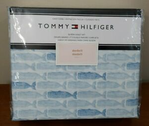 Tommy Hilfiger QUEEN Sheet Set w/ WHALES 60% Cotton Blend Blue Off-White NEW