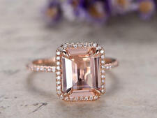 3Ct Emerald Pink Morganite Simulnt Diamond Engagement Ring Silver Rose Gold Fnsh