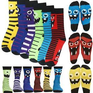 6 Pack Novelty Monster Socks Cotton Rich 2 Designs in 1 Sock Matching Adult/Kids