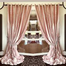 Crushed Velvet Curtains Eyelet Ring Top thick long Ready Made Lined BLUSH PINK